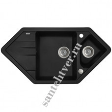 Мойка GRANUCRYL IDDIS VANE 960*500 V26 (1 1/2 чаши угловая) черная