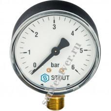 Манометр  1/4 6 бар радиальный STOUT вниз (ф50)