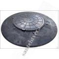 Люк  конусный 1070х150мм черный с ЧЕРНОЙ крышкой 1,5 т