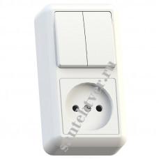 Блок БКВР-404 ОПТИМА(роз.16А+2кл.выкл.10А)ОУ бел.Кунцево